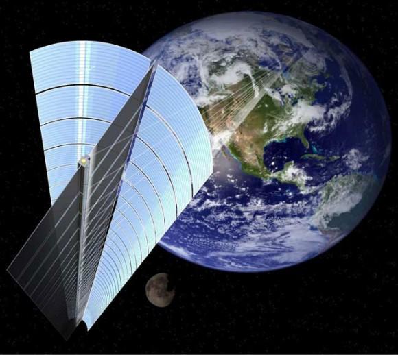 Takhle nějak by mohly vypadat vesmírné solární elektrárny podle výtvarníků japonské vesmírné agentury JAXA, foto: JAXA