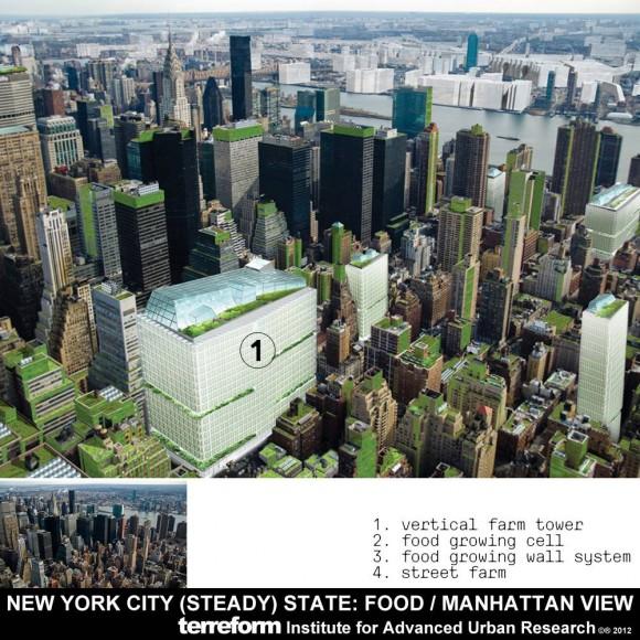Terreform svou vizi  New Yorku budoucnosti se neomezuje jen na zeleň, ale důkladně zpracovává především koncepci produkce potravin. Zdroj: Terreform.org