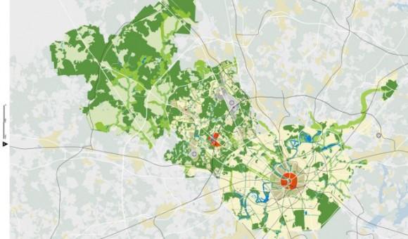 Na plánech to skoro vypadá, jako by staré, historicky zapouzdřené jádro Moskvy puklo, a z něj se do otevřené krajiny přelilo nové, zelené město. Zdroj: worldarchitecturenews.com