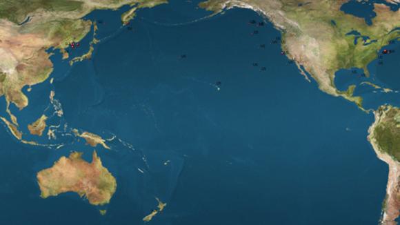 Tečky zobrazují oceánské skládky radioaktivních odpadů. Nová technologie by mohla pomoci i při likvidaci této ekologické zátěže. Zdroj: en.wikipiedia.org