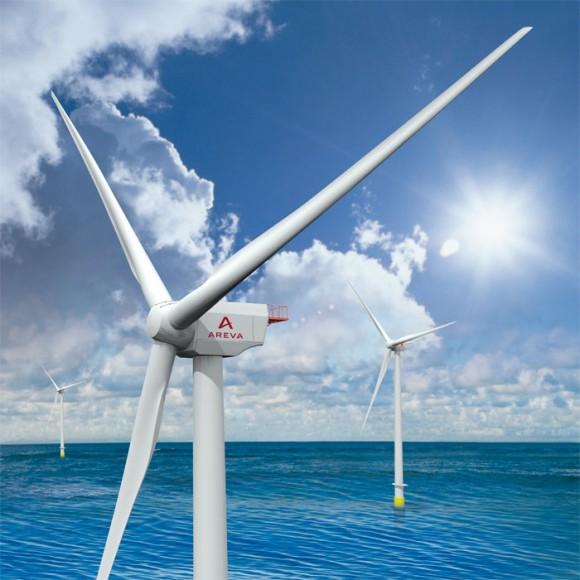 """""""Nový typ 5 MW turbíny M 5000-135 se má stát základním kamenem větrné farmy Wikinger Ost 2"""" Zdroj: Areva.com"""