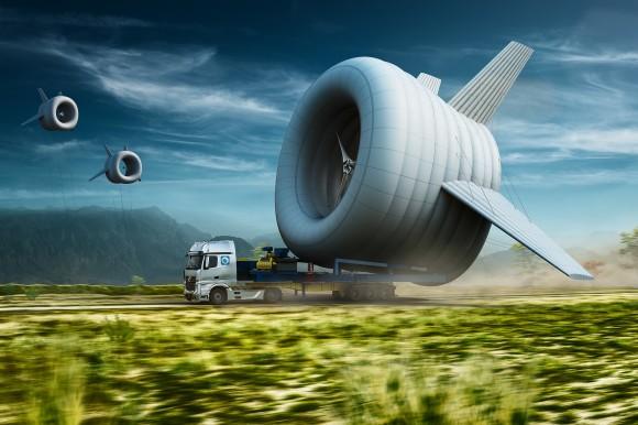 Není to vzducholoď, ani balón, nýbrž létající větrná turbína. foto: Altaeros Energies