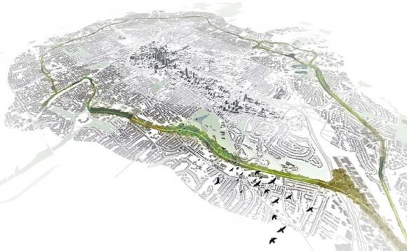 """BeltLine, dříve jeden ze symbolů rozkladu města, se stává """"zeleným náhrdelníkem"""" kolem centra. Zdroj: Inhabitat.com"""