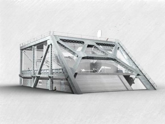 Jedna z dostupných vizualizací odvážného projektu. Z mostu se staly domy. Zdroj: BayBridgeHouse.org