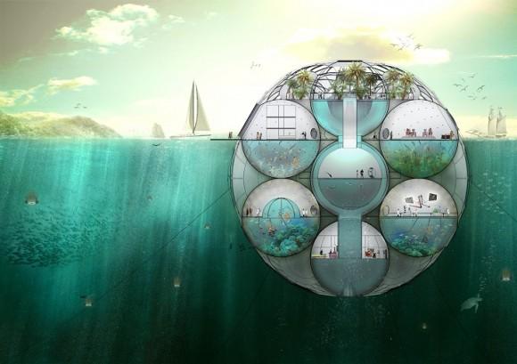 Víceúčelové podmořské laboratoře, čistící ovzduší, by se mohly brzo objevit v Indickém oceánu. Zdroj: SitbonArchitects.com
