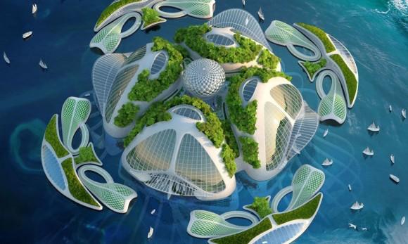 """""""Struktura budov Aequoreas bude vytvořena z vnějšího podpůrného skeletu na bázi uhličitanů vápenatého, na stejném principu jako u mušlí a krunýřů.""""Zdroj: Vincent Callebaut Architectures"""