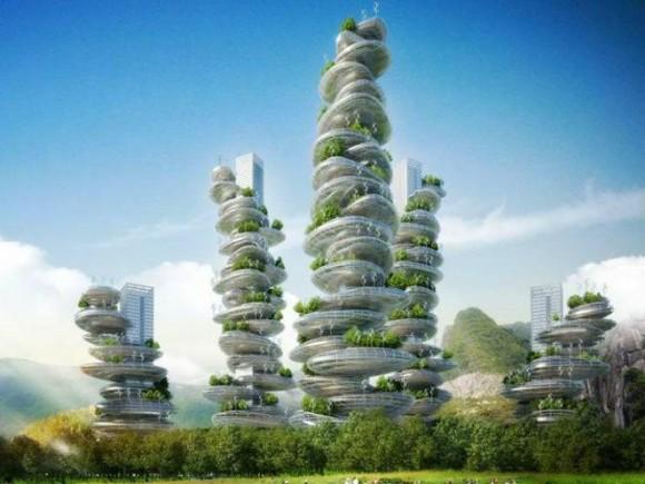 """""""Snová městská zahrada od studia Vincent Callebaut Architects asi města v Asii neuživí."""" Zdroj: Vincent Callebaut Architects"""