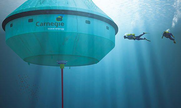 Připravovaná podmořská bóje nové generace, CETO 6, rozhodně není žádný drobeček. Zdroj: Carnegie Wave Energy Project