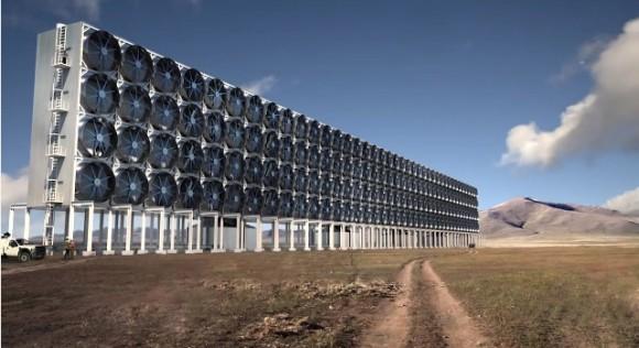 Obří větráky v poušti nasávají vzduch a získávají z něj oxid uhličitý. foto: Carbon Engineering