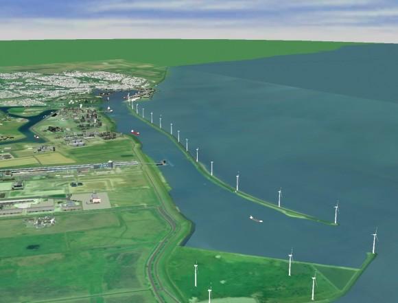 Vizualizace projektu větrné farmy u Delfjilzu. Zdroj: Eneco