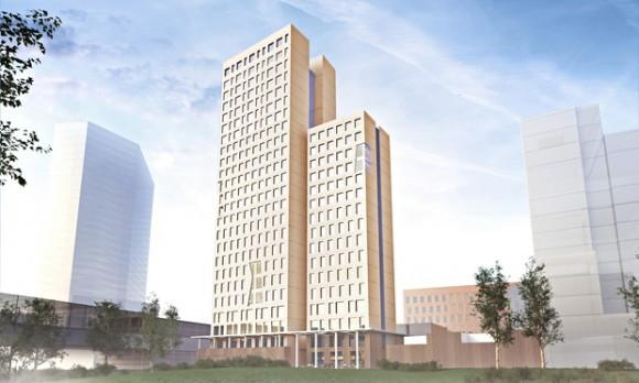 """""""První dřevěný mrakodrap ve Vídni by mohl nastartovat boom levného a ekologického stavitelství."""" Zdroj: Rüdiger Lainer and Partner"""