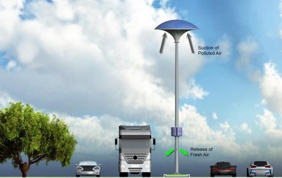 """""""EcoMushroom problém znečištěného ovzduší asi nevyřeší, ale může zlepšit čistotu ovzduší nad vozovkami."""" Zdroj: Yankodesign.com"""