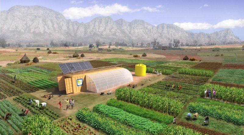 """""""Jediný kontejner obsahuje kompletní farmu, která zajistí potraviny pro 150 lidí."""" Zdroj: Farm From a Box"""
