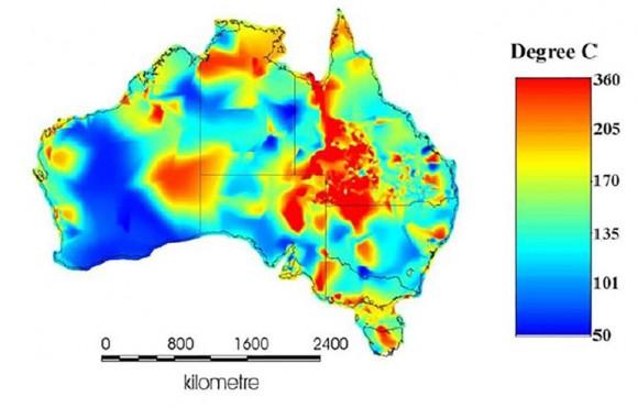 """""""Mapa teploty podzemních zdrojů ropy a zemního plynu indikuje i přítomnost území spotenciálem pro geotermální energii."""" Zdroj: AGEA"""
