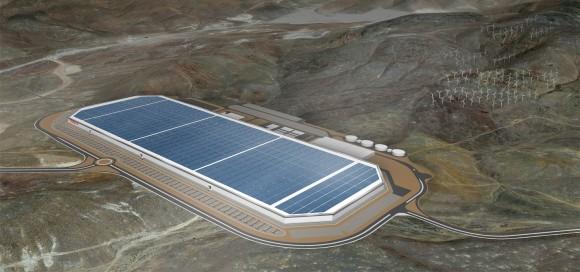 """""""Výrobní kolos, který bude navzdory své monumentálnosti energeticky soběstačný a uhlíkově neutrální."""" Zdroj: Tesla"""