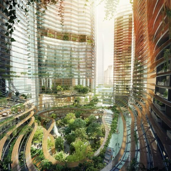 """""""Změní zelená propast uvnitř komplexu budov Marina One celý Singapur?"""" Zdroj: M+S Pte. Ltd"""