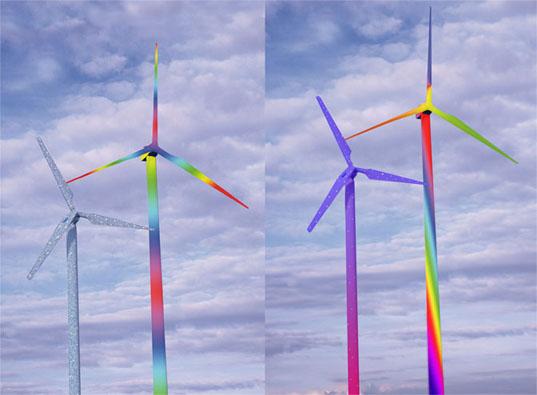 Barevné větrné elektrárny Horsta Gläskera