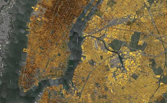 """""""Centrální New York a jeho předměstí by dokázal vyrobit střešními elektrárnami dostatek energie pro 1,5 milionu lidí na celý rok. """"Zdroj: Mapdwell"""