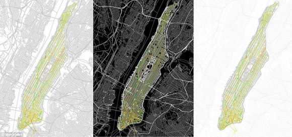 Přesný záznam pozic toho, jak Manhattan působí na cyklisty. Zdroj: Wired.com