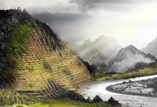 Druhé místo v soutěži architektů eVolo2012 si tým návrhářů zasloužil především díky zapracování krajinné struktury do projektu. Zdroj: Inhabitat.com