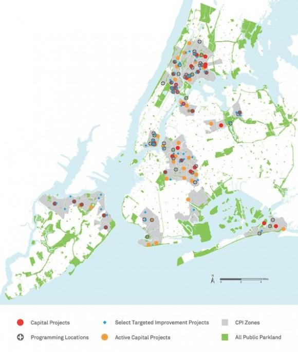 Mapa CPI zachycuje program ozelenění New Yorku a rozvoj nových veřejných prostranství a parků. Zdroj: CPI