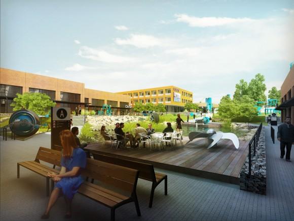 Jednotlivé budovy kampusu (parku) jsou pojmenovány po velikánech v oblasti výzkumu elektřiny - Ohm, Watt, Tesla, Volt. foto: Nupharo