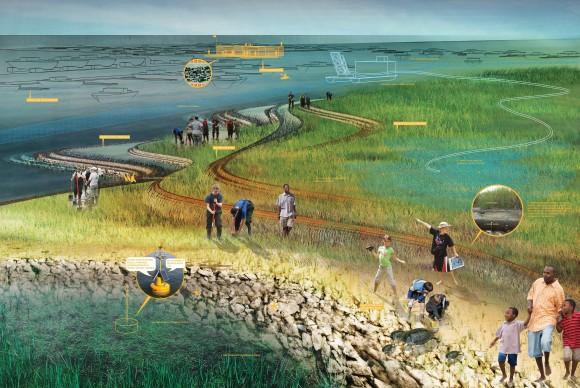 """""""Intenzitu vln tlumící lem by vytvořil tišiny, které by ochránily pobřeží."""" Zdroj: Kate Orff/SCAPE"""