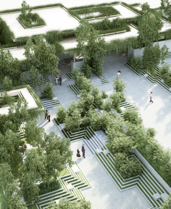 """""""Strohá geometrická jednoduchost prostoru vede k působivému rozčlenění zahrady na sérii malých  nádvoří.""""  Zdroj: home-of-penda.com"""
