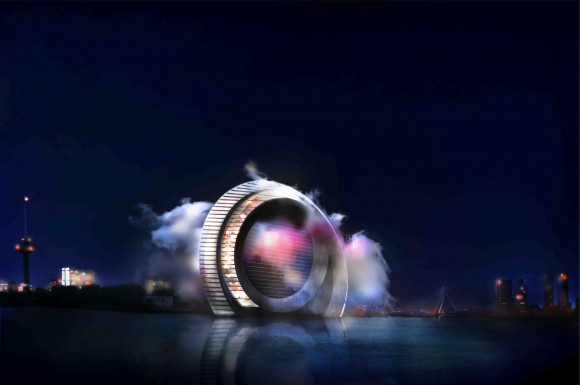 """""""V Rotterdamu to roztočí. Futuristický projekt Windwheel se má stát novou eko-dominantou."""" Zdroj: DutchWindwheel.com"""