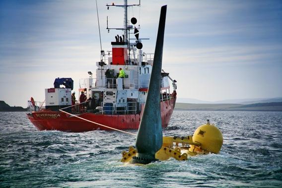 Přílivová turbína při testech nedajeko skotského pobřeží. Zdroj: Rolls Royce