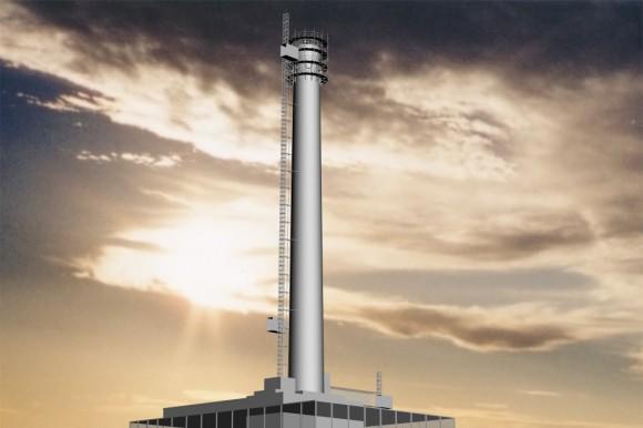 """""""Unikátní přístup pro demolici komínů získává vBritánii na oblibě. Naposled vysokozdvižná automatizovaná plošina rozkrájela komín elektrárny vBattersea."""" Zdroj: sellafieldsites.com"""