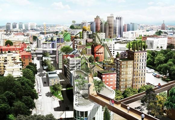 """""""Zásadní tepnou pro pěší, která by v úrovni nadzemky propojila jednotlivé zelení střechy, by se  stal most SkyWalk."""" Zdroj: Anders Berensson Architects"""