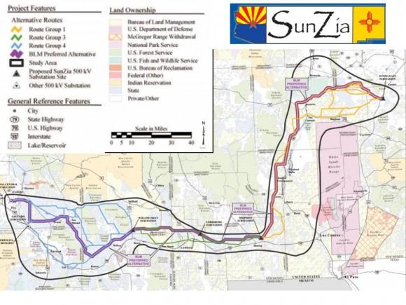 """""""Návrh jednotlivých tras a seznam území dotčených Southwest Transmission Project.""""  Zdroj: Sunzia.net"""