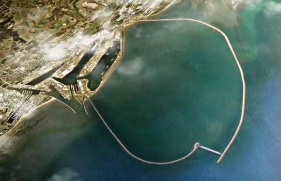 """Swansea Bay Tidal Lagoon by měla vytvořit """"prstenec"""" na pobřeží, který ale nebude omezovat ryby v pohybu.  Zdroj: smartenergyjournal.com"""