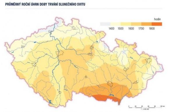 Mapa slunečního svitu na území ČR