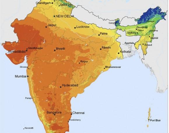 Stát Radžastán nacházející se v severozápadní části Indie má pro využití potenciálu sluneční energie zdaleka nejvýhodnější podmínky z celé země. foto: SolarGIS © 2011 GeoModel Solar s.r.o. licence Creative Commons Attribution-Share Alike 3.0 Unported