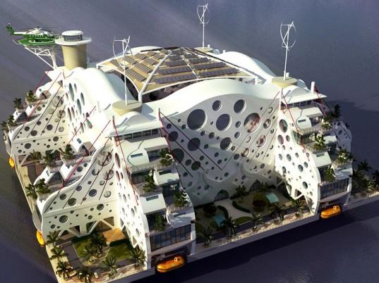 Jeden z řady návrhů residenčních umělých ostrovů. Zdroj: Ihnabitat.com