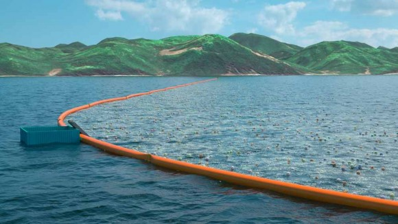 Obří sběrač odpadů využívá přirozeného pohybu moří a oceánů. foto: The Ocean Cleanup