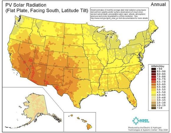 Čistá elektřina z Utahu bude proudit i do sousední Kalifornie (levá dolní část USA). foto: public domain