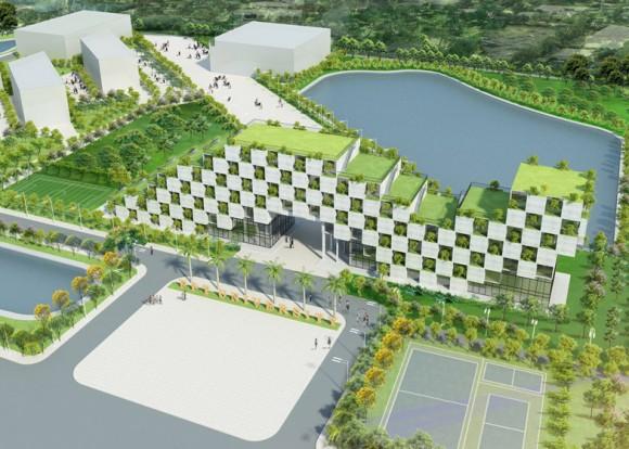 """""""Vizualizace kampusu FPT University, se vstupním pavilonem sedmipatrové administrativní budovy."""" Zdroj: Dezeen.com"""