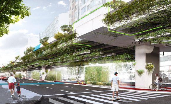 """""""Blanche našel místo pro výsadbu zeleně vcentru Sao Paula. Chce integrovat vegetaci do tělesa dálniční spojky. Zdroj: Triptyque Architecture"""