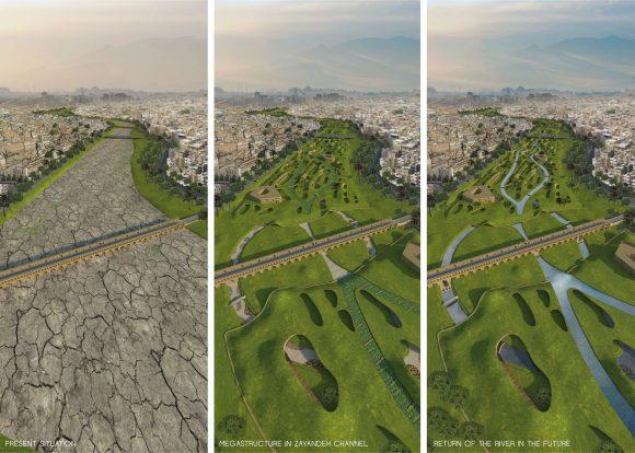 """""""Projekt RIVERBED je o megastruktuře vybudované na úseku vyschlého říčního koryta, který může navrátit vodu zpět tam, kam patří."""" Zdroj: Mateusz Pospiech"""