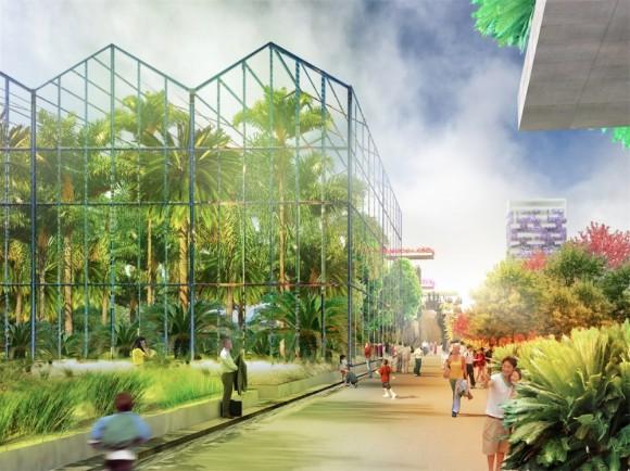 Podaří se architektům z MVRDV skutečně za deset let proměnit almerský poloostrov v nejzelenější město světa? Zdroj: MVRDV