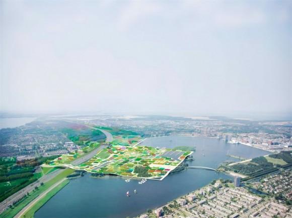 Pohled shora na nový poloostrov/čtvrť města Almere, foto: MVRDV