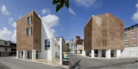 Exponovaná místa zakrytá cedrovými lištami rázem poskytují stín a proměňují tvář jinak všední obytné budovy. foto: Smart Architecture