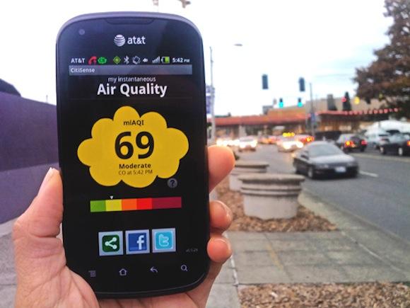 Mobilní aplikace CitySense vám prozradí aktuální stav kvality ovzduší ve městě. foto: UCSD