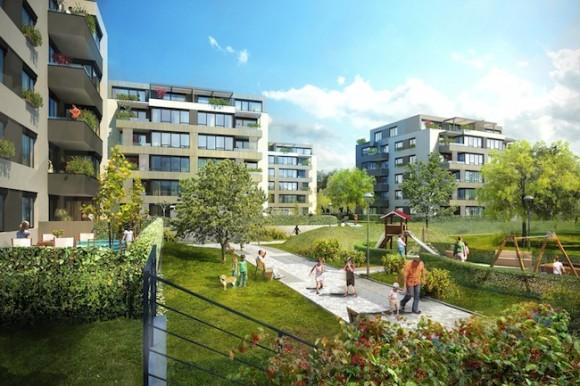 Domy EcoCity jsou navrženy tak, aby spotřebovaly tak malé množství energie, že splňují přísná kritéria pro energeticky pasivní byty a současně byly co nejšetrnější k životnímu prostředí. foto: JRD