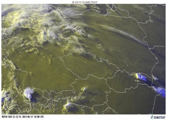 Satelitní snímek situace nad střední Evropou, foto: EUMETSAT