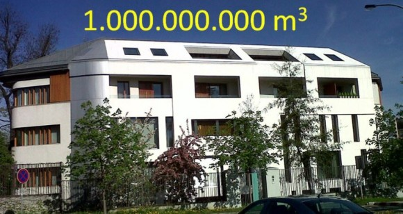 Tato budova v Praze za rok vyčití 1 mld. metrů krychlových vzduchu od všemožných znečištění, foto: AMJTJ