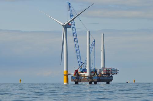 Dosud největší pobřežní větrná farma Greater Gabbard u pobřeží hrabství Suffolk v Británii, foto: RWE